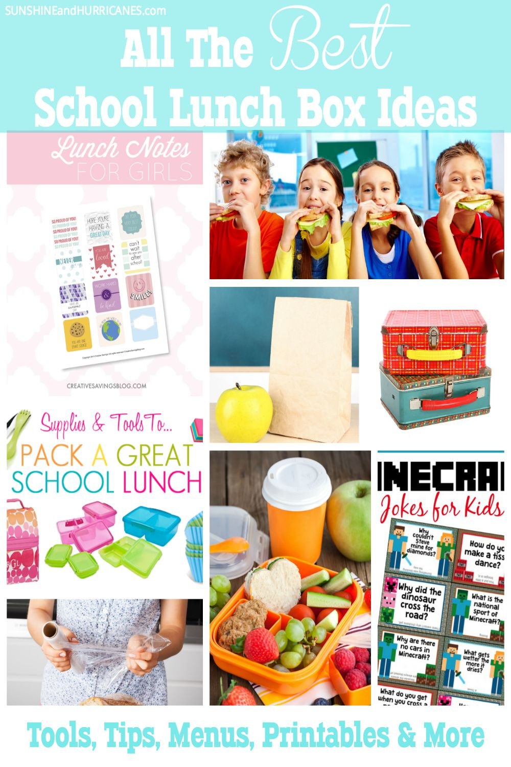 Do you need a solution to school lunch stress? We've got all your answers in one place with all the best lunch box ideas! What's the best lunch box? Check! Easy Lunch Box Meals? Check! Printables, Ways to Get Your Kids to Make Their Own Lunches, and More! Lunch Box Ideas Roundup. SunshineandHurricanes.com
