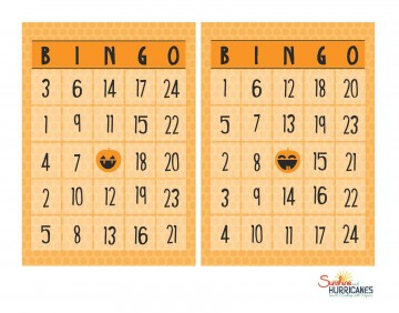 Free Halloween Printables BINGO Game. Just use Halloween candy for the markers. Great for school parties or as a homeschool counting activity. Free Halloween Printables BINGO. SunshineandHurricanes.com