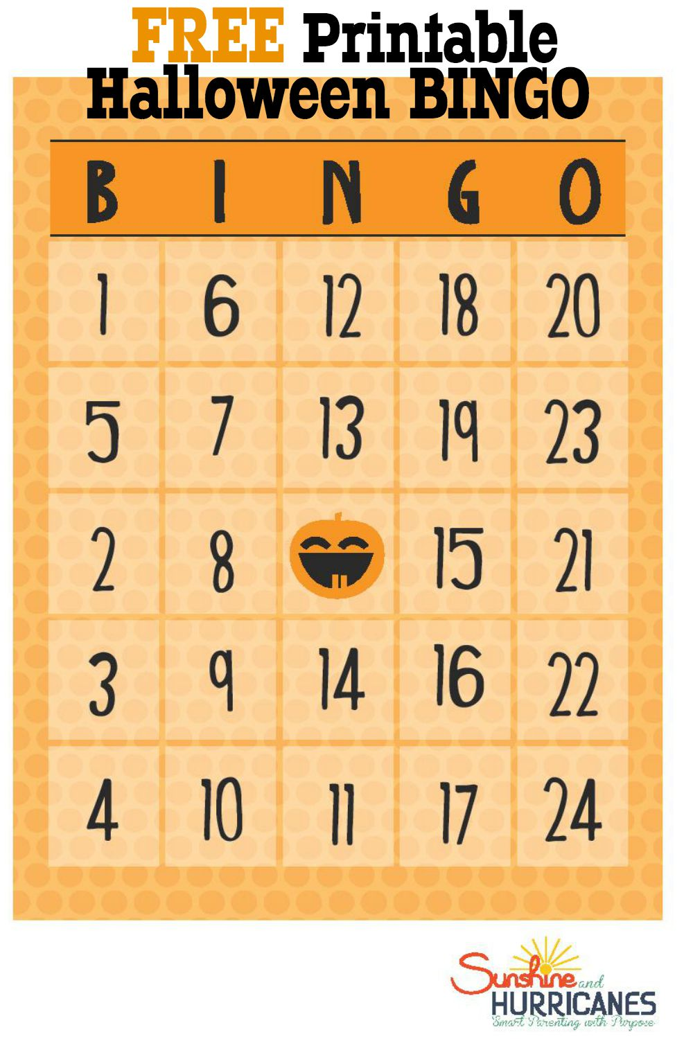 Looking for fun and free Halloween Printables to use at a Halloween party? Great for school or at home, this Halloween Printable Bingo game is perfect for holiday themed fun. Use candy corn for the place markers and you're good to go! Free Halloween Printable BINGO. SunshineandHurricanes.com