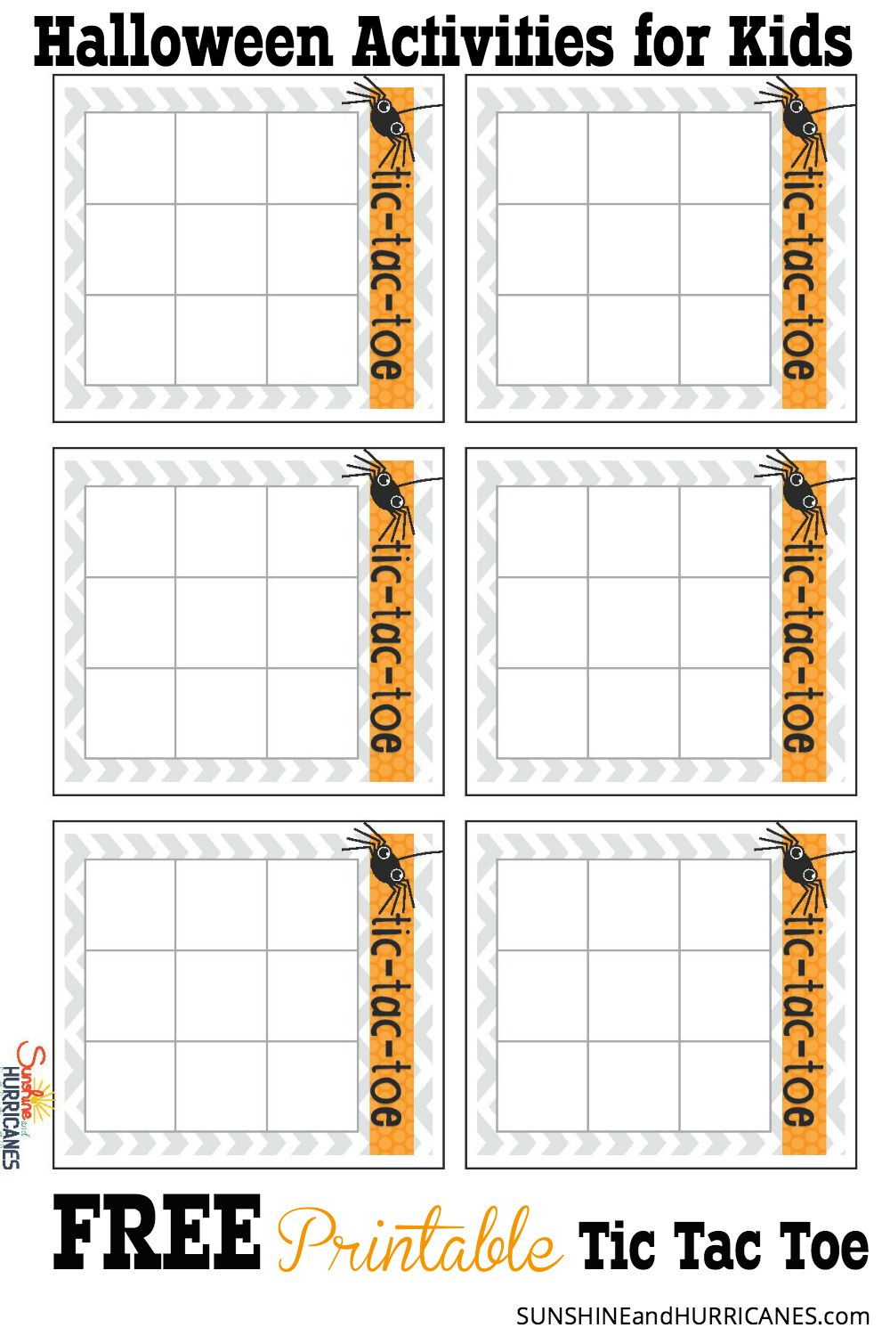 photo about Free Printable Tic Tac Toe Board called Halloween Actions for Youngsters - Tic Tac Toe