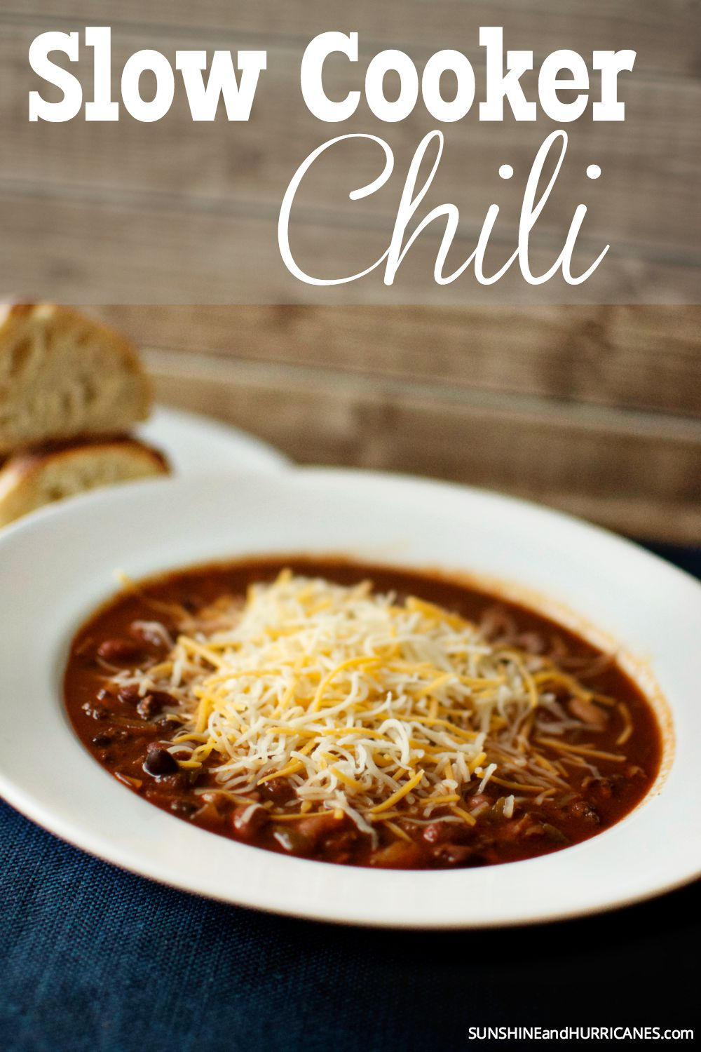 Looking for a delicious and easy meal for dinner or a game day celebration? This slow cooker chili is a tasty option that will please a crowd or even your pickiest little eater. Slow Cooker Chili. SunshineandHurrcanes.com