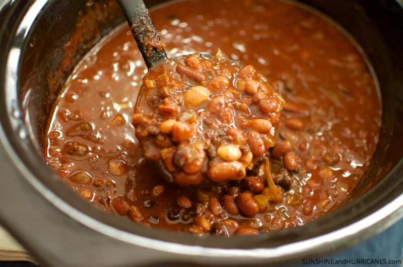 Serve up some piping hot slow cooker chili for a warm meal on cold day or as food to feed a crowd for game day! Slow Cooker Chili with Hurst Beans. SunshineandHurricanes.com