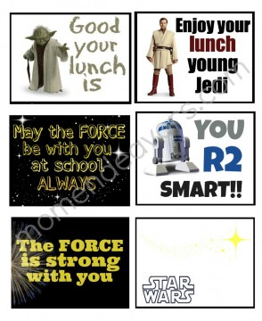Star Wars Lunch Box Notes part of the Ultimate Star Wars Printable Round-Up. SunshineandHurricanes.com