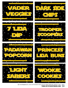 Star Wars Printable Food Lablels for a Star Wars Birthday Party. Part of the Ultimate Star Wars Printables Round-Up. SunshineandHurricanes.com