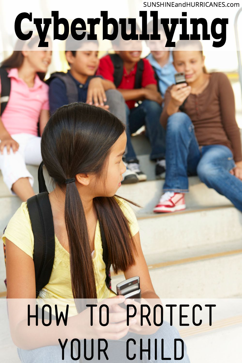 Did you know some studies show that more than half of kids with experience cyberbullying during their adolescence? There are actually some really easy ways for parents to protect their kids and keep them protected from the downside of today's widespread technology use. Cyberbullying How to Protect Your Kids. SunshineandHurricanes.com