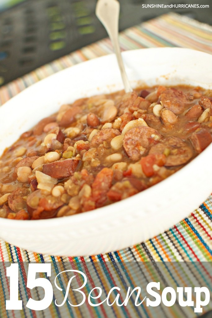 Looking for the perfect comfort food to feed your family on a chilly fall or winter day? This 15 bean soup recipe savory and delicious. An easy family meal with leftovers to freeze or use for school lunches. 15 bean soup. SunshineandHurricanes.com