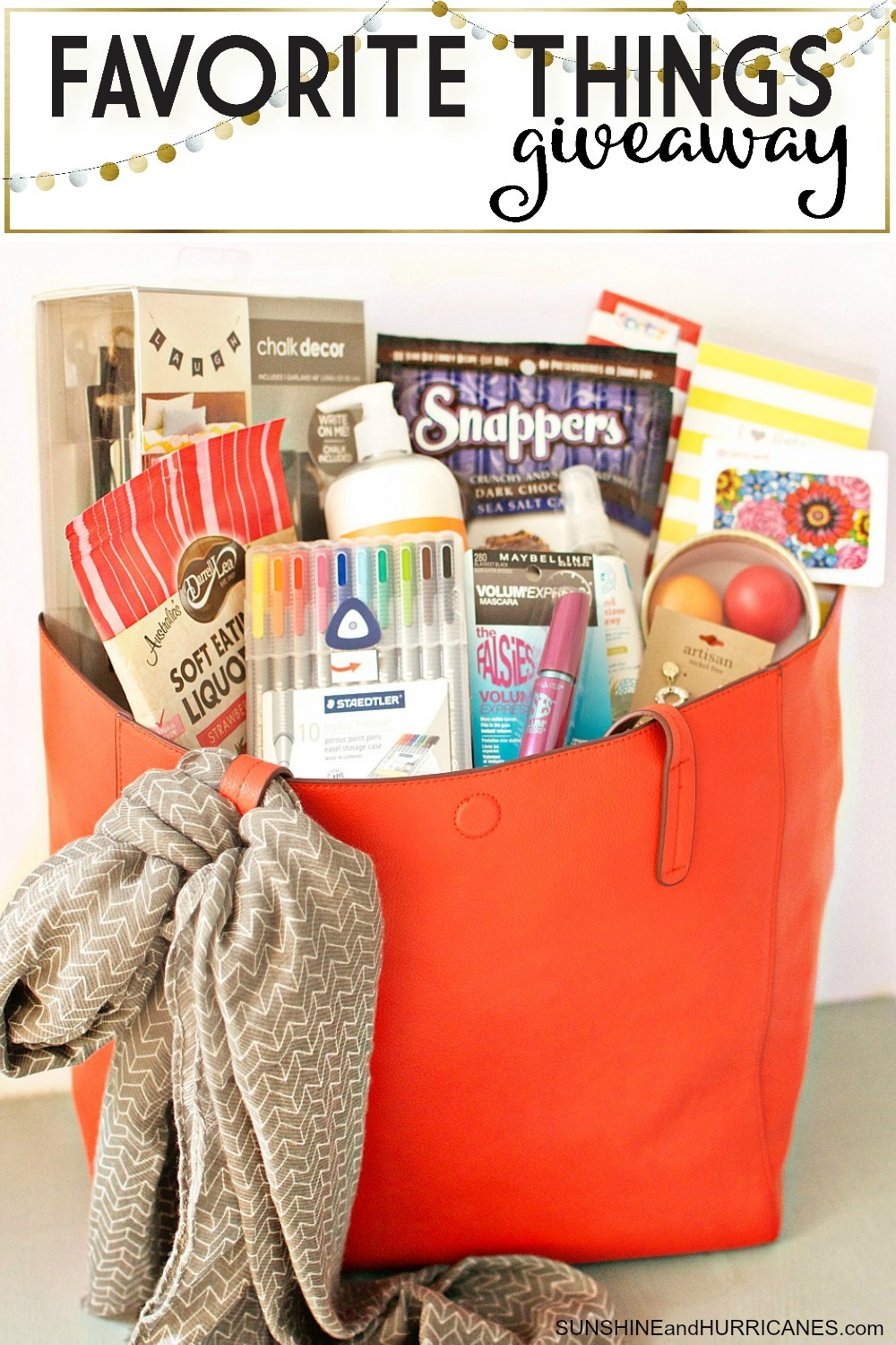 The holidays are coming and wouldn't it be fantastic to win this target inspired bag stocked with all sorts of goodies either for yourself or to use as gifts for other people? Enter our Favorite Things Giveaway for your chance to win this and other equally fantastic prizes from a whole group of bloggers. SunshineandHurricanes.com
