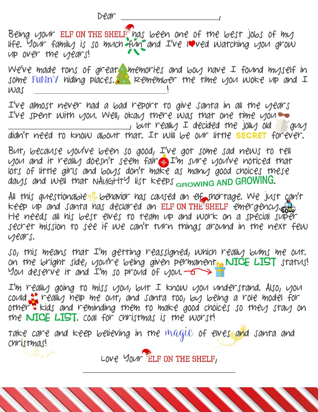Elf On Shelf First Day Back Letter