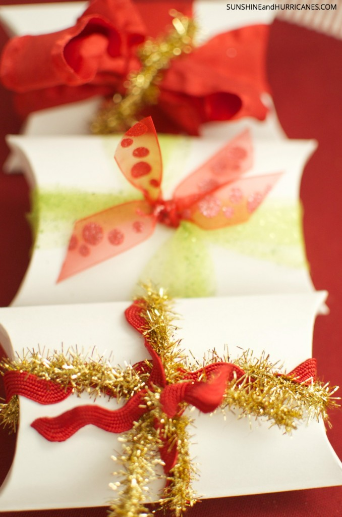 These cute little pillow boxes are a unique way to package this sugared mixed nuts recipe and give as thoughtful and affordable holiday gifts to teachers, friends and neighbors. SunshineandHurricanes.com