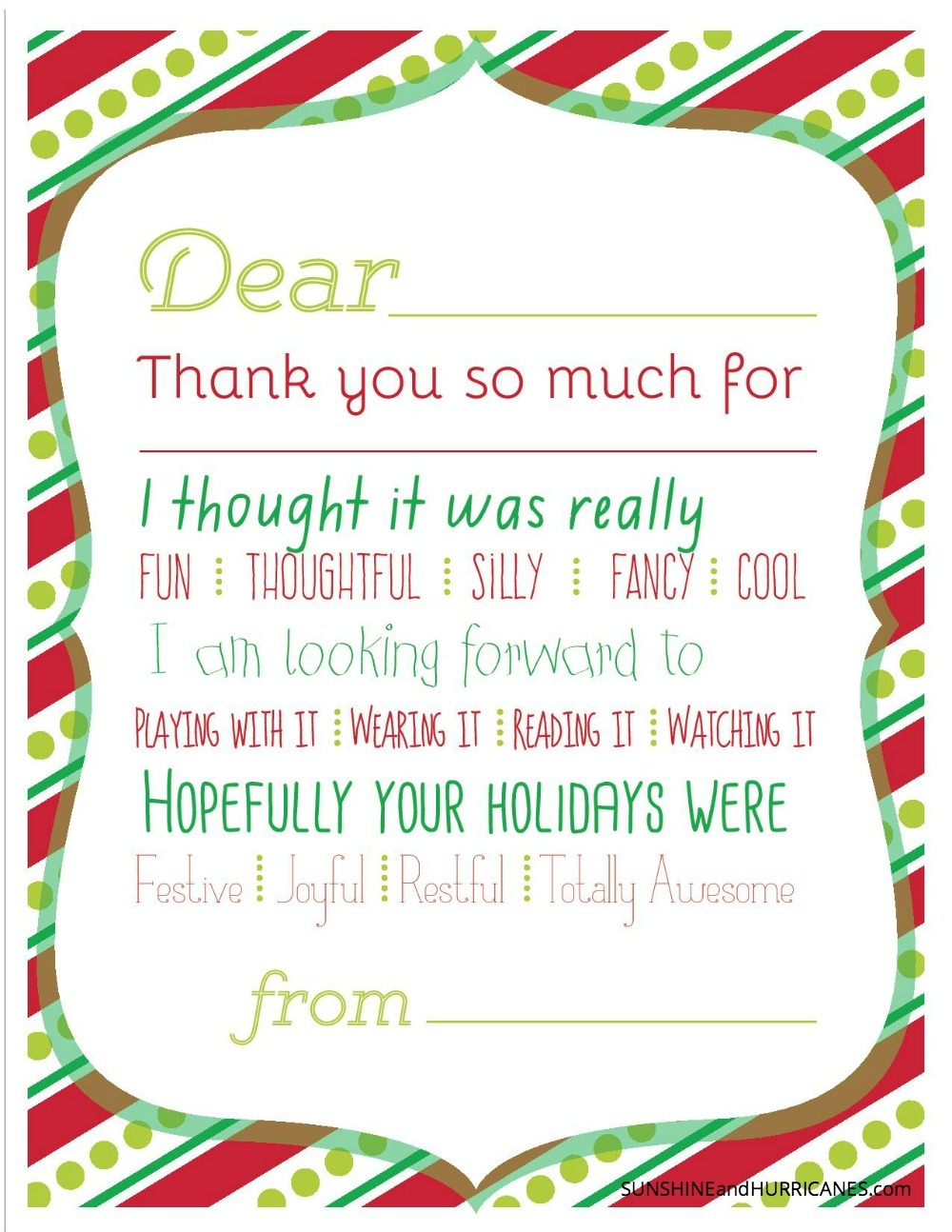 Christmas Printable Thank You Cards For Kids