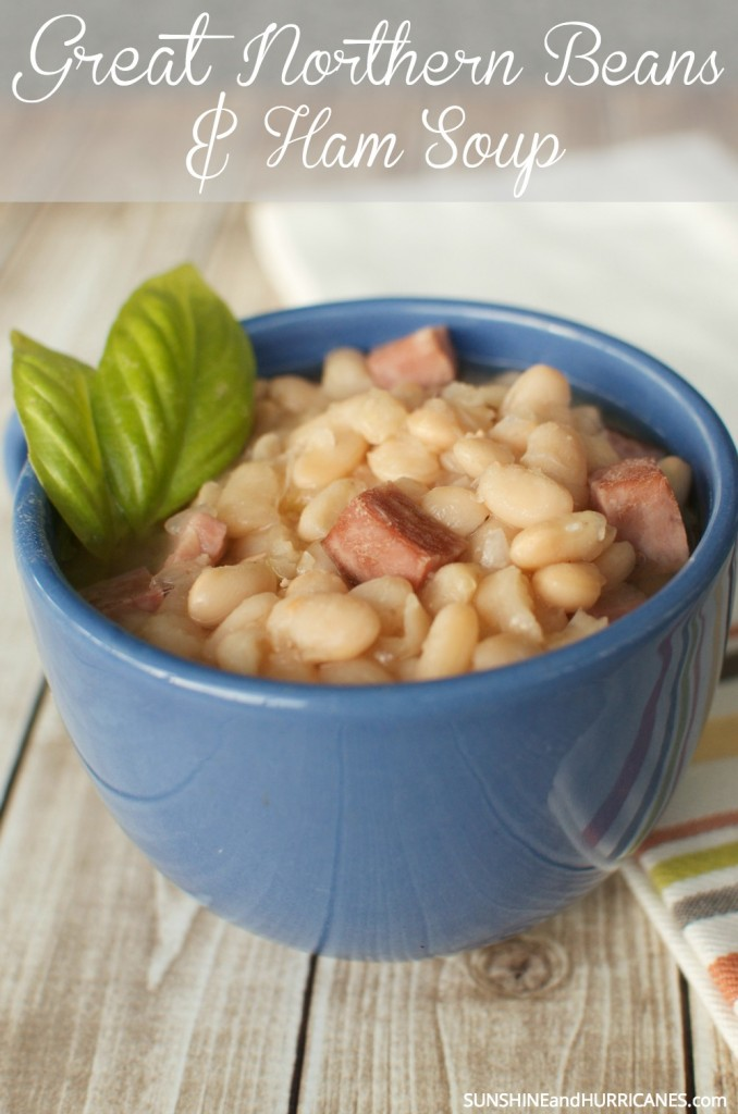 Looking for a tasty and warm meal on a chilly day? This recipe only requires three ingredients and is sure to be enjoyed by the whole family. It's great if you have leftover ham or turkey around the holidays too!  Great Northern Beans and Ham Soup. SunshineandHurricanes.com