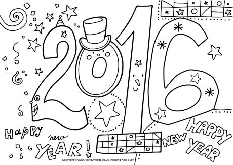 new year printable coloring pages - new years eve printables