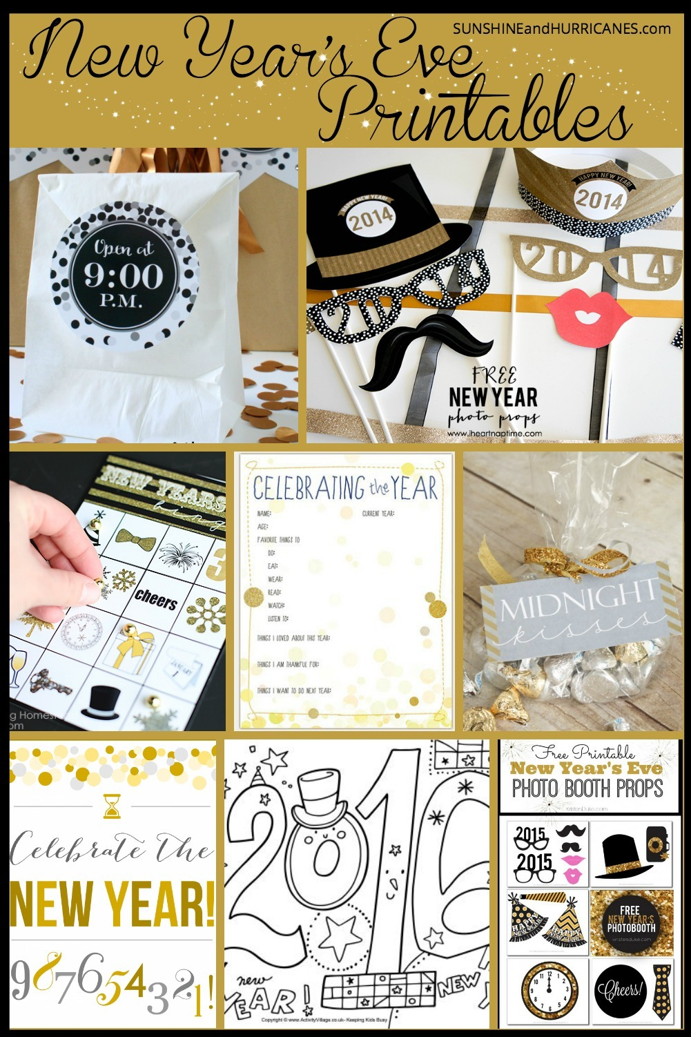 Looking for some easy family fun to help ring in the New Year? Get the party started with photo booth props, games, coloring pages and more all included in our New Year's Eve Printables round-up. Let the countdown to fun begin! SunshineandHurricanes.com