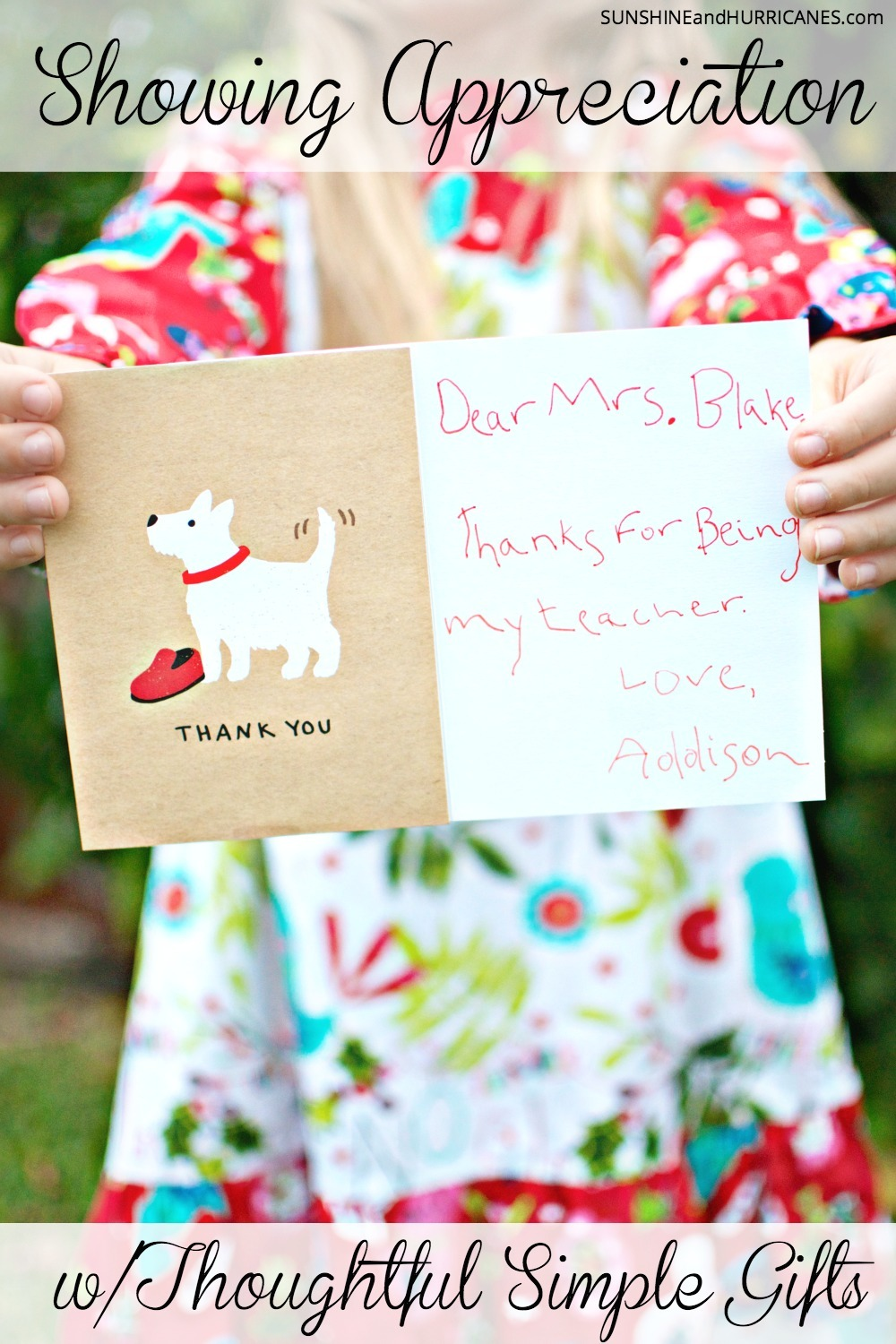 Looking for a meaningful way to show people who play an important role in your kid's lives that they matter? You don't have to spend a lot of money or make big gestures. We've got lots of ideas for how just by paying attention to little details, you can give thoughtful and simple gifts that people will truly love. SunshineandHurricanes.com