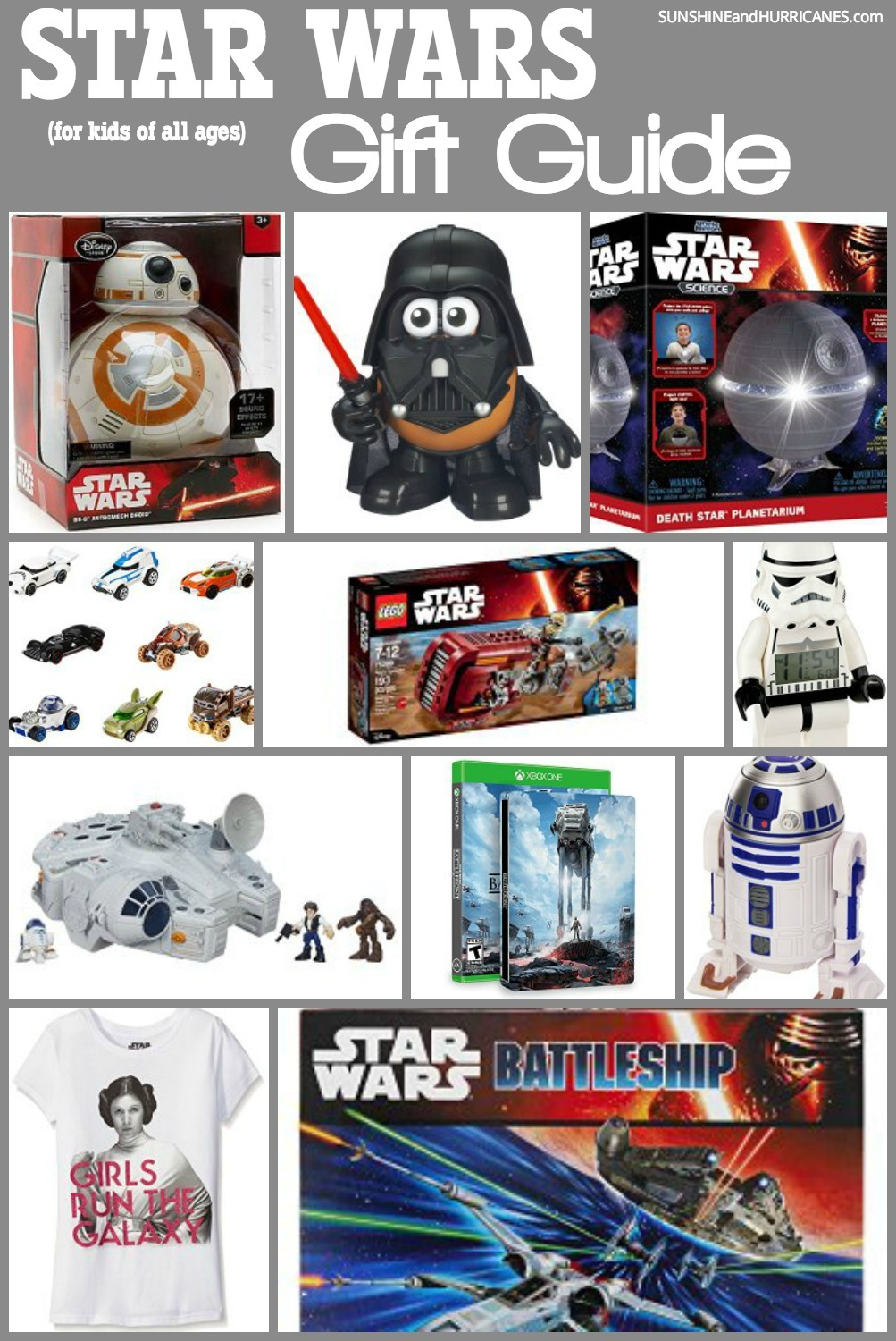 If you have a Star Wars fan (or three or four) in you family that this gift guide is for you. Filled with all the MOST popular gift ideas for kids of all ages, you'll find something here for everyone. Great for holiday gifts, Birthday gifts, Father's Day gifts and more! SunshineandHurricanes.com