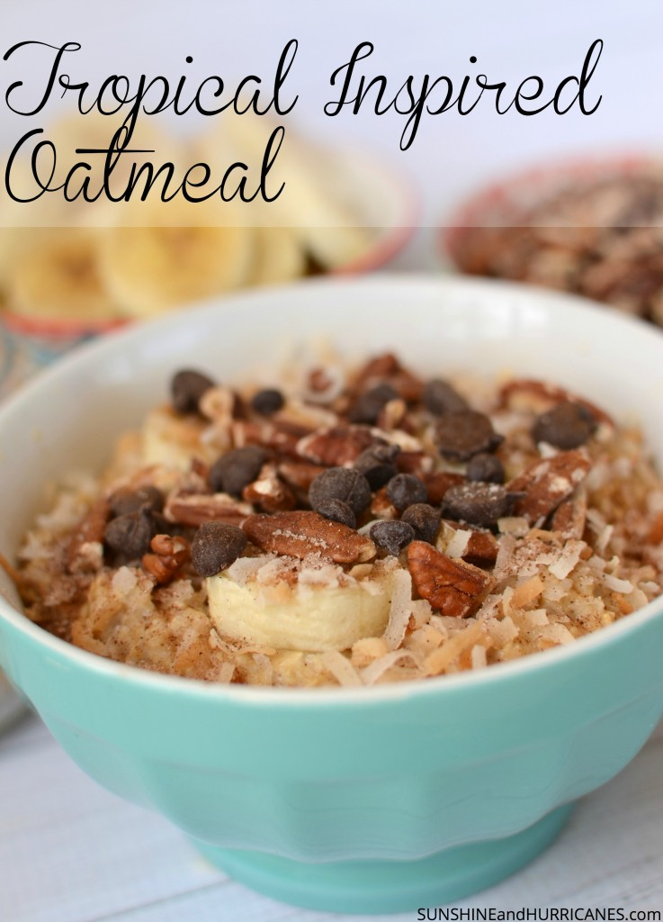Looking for a fun breakfast idea teh entire family will love? This delicious and simple breakfast takes one minute to create and packs a hearty punch that'll stay with your kids all morning long! Fully customizable, this has something to satisfy everyone, full of bananas, nuts, coconut, and chocolate! Tropical Breakfast Oatmeal #ad #BringYourBestBowl #Target