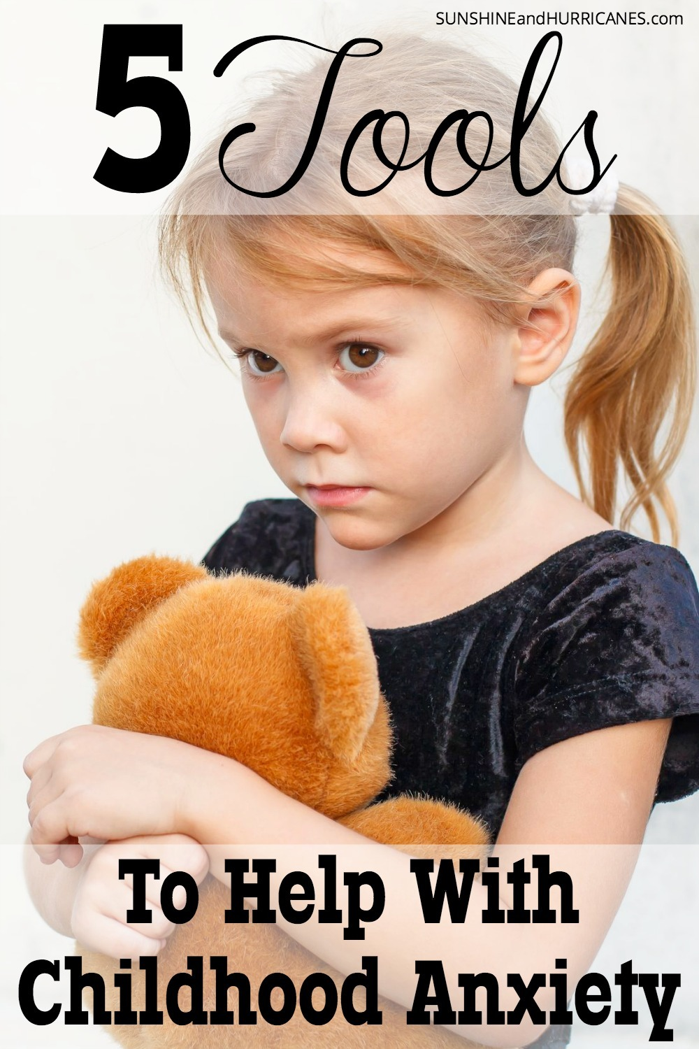 All children have fears, but does your child seem to have worries or fears that are bigger than most kids? Anxiety is actually the most common mental health issue among children and teens, but also the most treatable. Professional help is always the best first course of action, but if you want additional tools to help your child manage their childhood anxiety here is a list of top resources. 5 Tools to Help with Childhood Anxiety - SunshineandHurricanes.com
