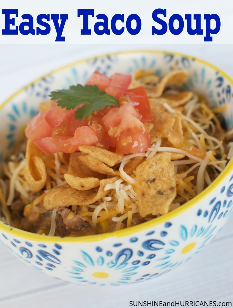 This simple and hearty soup cooks up perfectly in the crock pot and freezes well. This easy taco soup, made in the slow cooker, gives a whole new spin on Taco Tuesday! Beans, cheese, tomatoes, and corn join with spices to create a delicious, satisfying meal even the kids will love!
