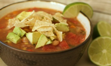 Tortilla Soup with Pinto Beans.