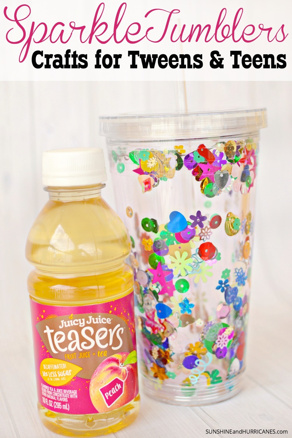 Looking for a fun activity for your teen or tween? These Sparkle Tumblers are a more grown-up craft that will tap into their creativity. They can personalize them with their own flare and then they are great for taking drinks on the go, because tweens and teens are always on the go! Crafts for Teens and Tweens Sparkle Tumblers. SunshineandHurricanes.com