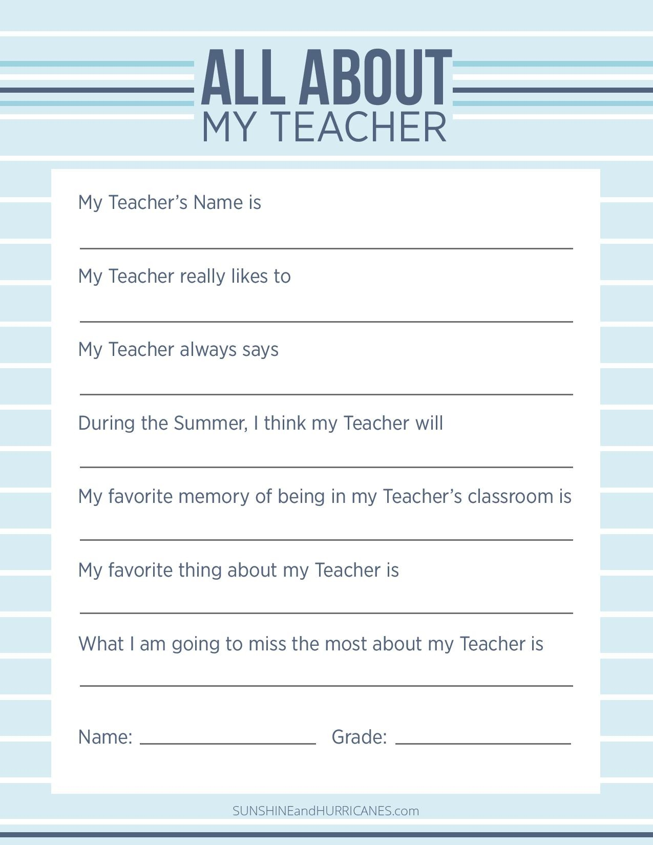 This Teacher Appreciation Questionnaire would make the perfect teacher gift for end of year or any occasion. SunshineandHurricanes.com