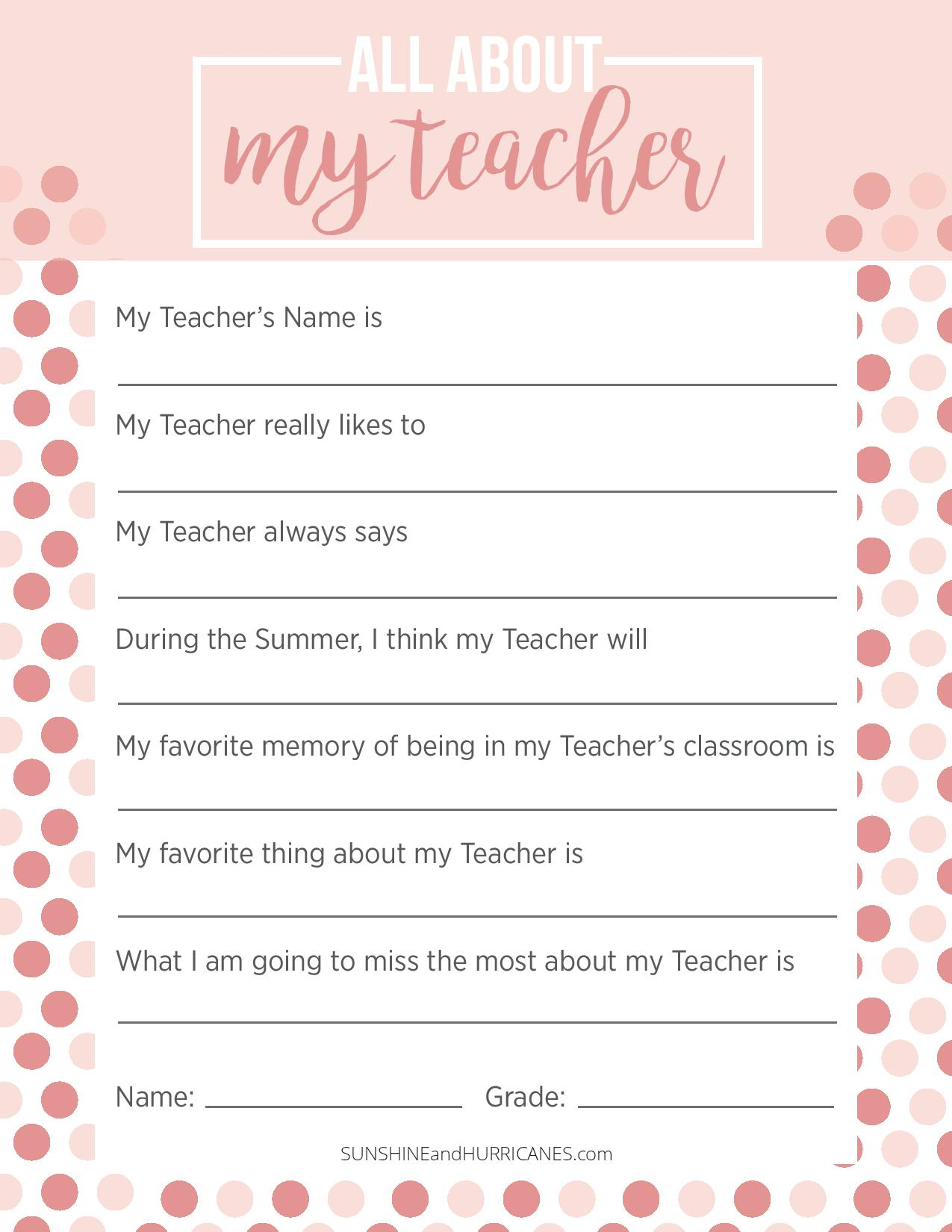This teacher appreciation week questionnaire is the perfect teacher gift for any occasion. Personalize and meaningful it is a gift she will always treasure. SunshineandHurricanes.com
