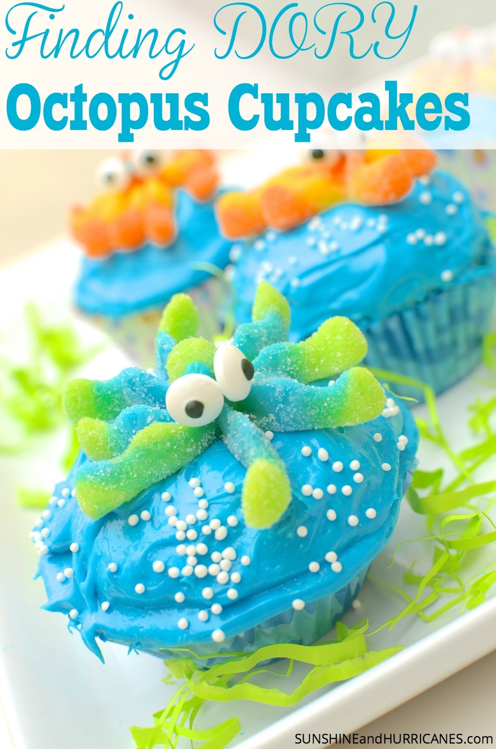 These adorable Octopus cupcakes would be perfect for a Finding Dory Birthday, A Finding Nemo Birthday or even just a fun Under the Sea Birthday. It's Ocean creatures at their cutest and tastiest. Finding Dory Cupcakes from SunshineandHurricanes.com
