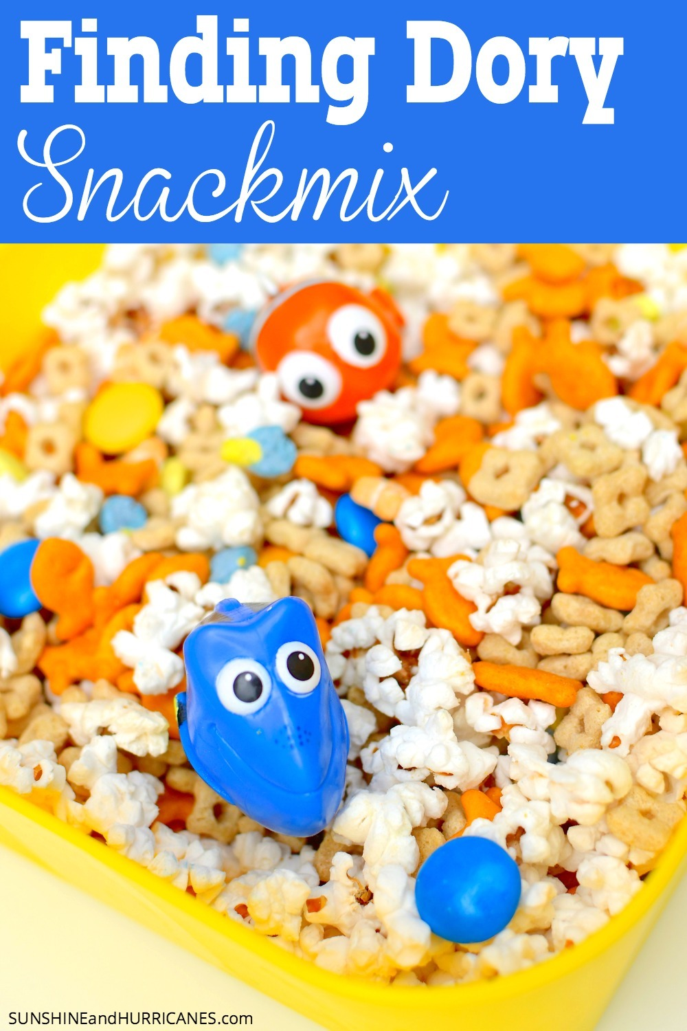 Looking for some fun food for a Finding Dory party? All your little fishes will eat up this yummy Finding Dory snack mix, perfect for a Finding Dory Birthday Party or a Finding Nemo Birthday Party. You could also host a Finding Nemo or Finding Dory movie viewing party and serve this snackmix for everyone to enjoy. Finding Dory Snackmix. SunshineandHurricanes.com