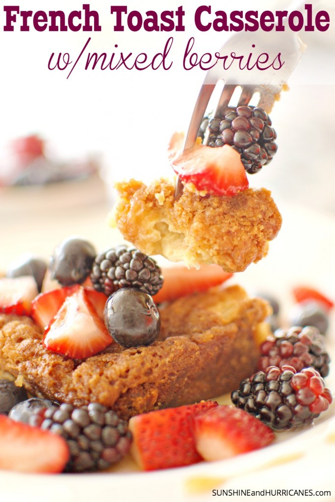 Looking for a breakfast or brunch recipe that is sure to impress? This french toast casserole with mixed berries is sure to everyone swooning. So delicious and super easy to make (doesn't require an overnight in the fridge). Get ready to have a new family favorite recipe. French Toast Casserole with Mixed Berries from SunshineandHurricanes.com