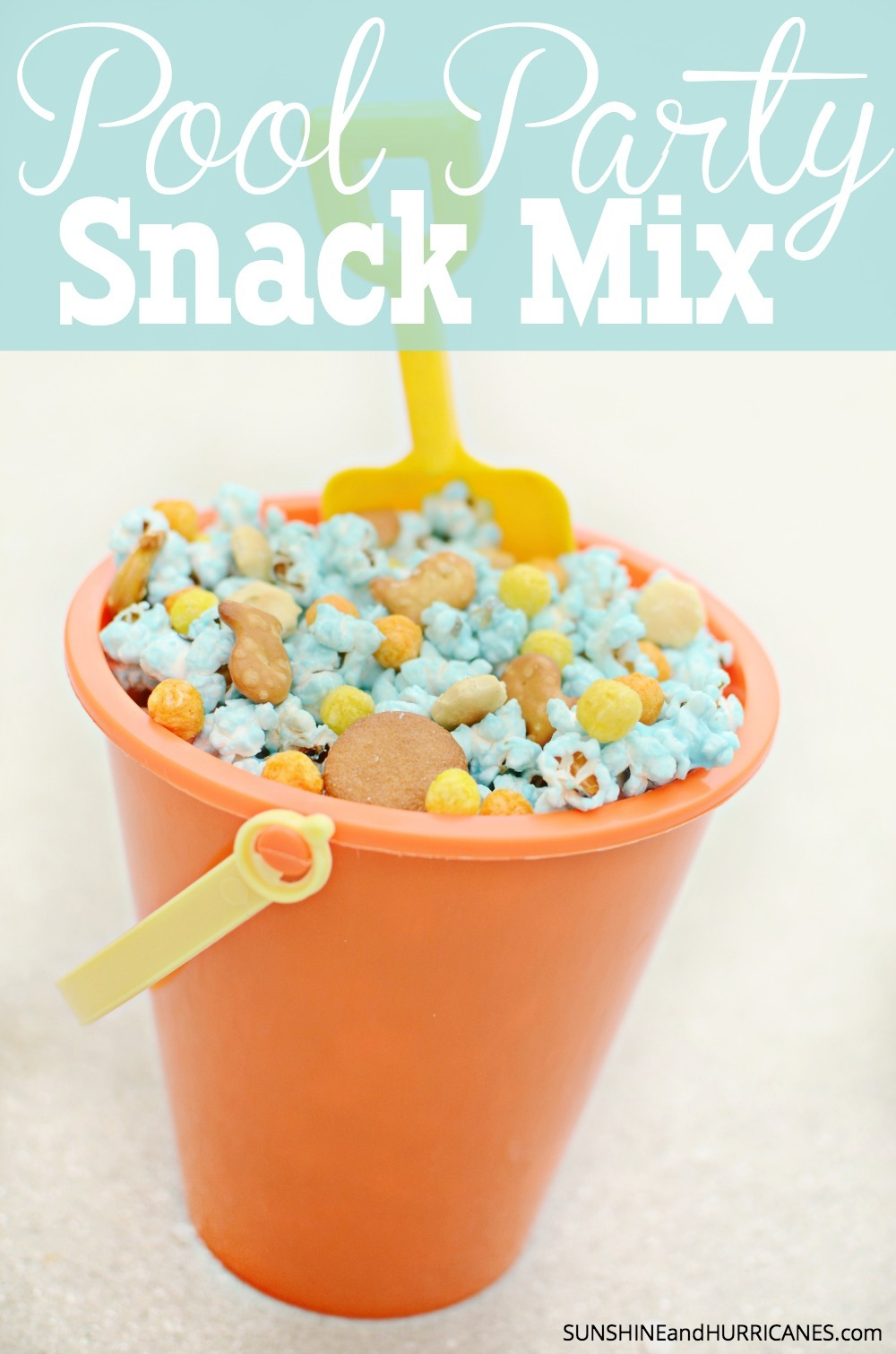 Looking for a fun, tasty and super ridiculously easy snack mix for a pool party or even a kids birthday party. This pool party snack mix is fun and quick to make, plus a little bit weirdly addictive. SunshineandHurricanes.com