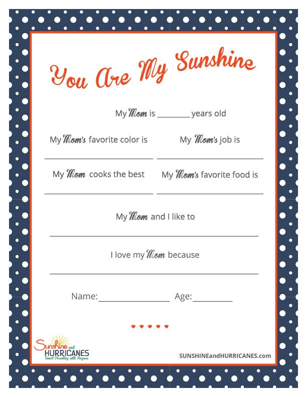This Printable Mother's Day Questionnaire will be a meaningful gift that moms will always cherish. Mother's Day Questionnaire from SunshineandHurricanes.com