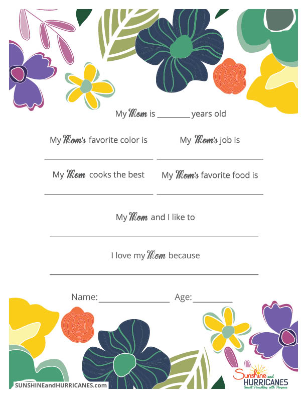 This Printable Mother's Day Questionnaire is a thoughtful gift that will truly make Mom's special day. Whether for Mother's Day or a Birthday, she will love hearing what her kids have to say from the funny to the truly sweet. Mother's Day Questionnaire from SunshineandHurricanes.com