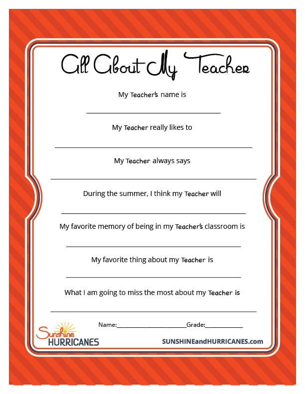 Teacher Appreciation Week Questionnaire - a perfect personalize teacher gift that kids will love to give!