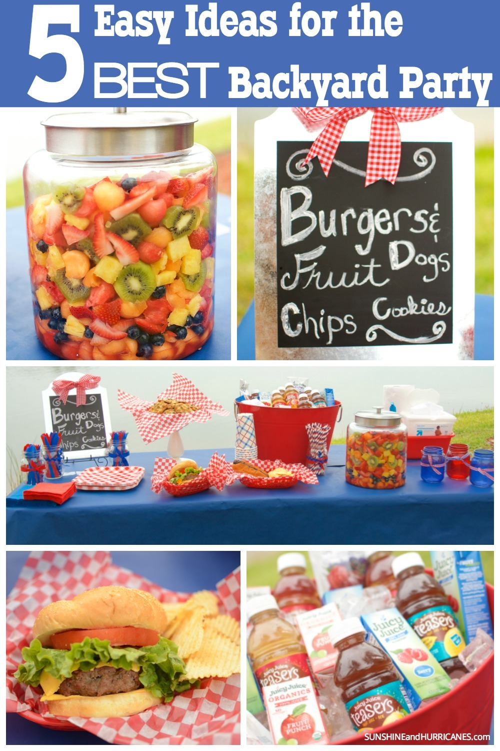 Warm afternoons spent swimming in the pool, playing cornhole and cooking up burgers and dogs, that is what summer is all about! Entertaining can be easy and even the hostess can enjoy herself with these 5 easy ideas for the BEST Backyard Party. SunshineandHurricanes.com