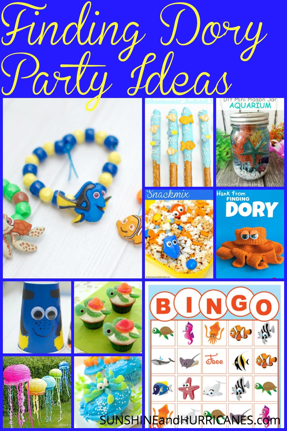 This post is full of Finding Dory Party Ideas! Food, crafts, games, party favors, and decorations are all in one easy place to help you plan! Whether it's a birthday party, with an ocean, mermaid, pirate, or shark theme, you'll be ready to party with all these suggestions! Nemo, sea creatures, and more await you in this exciting round up!