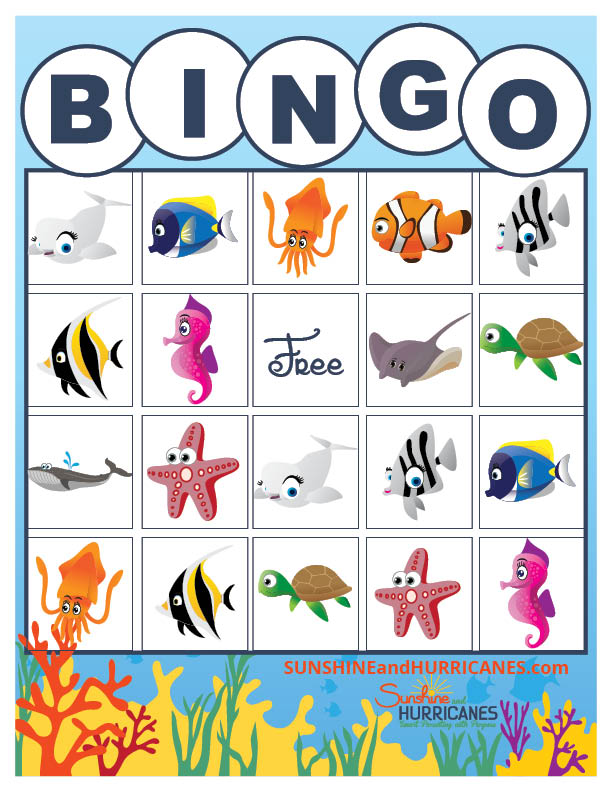 Finding Dory Printable Sea Life BINGO from SunshineandHurricanes.com.