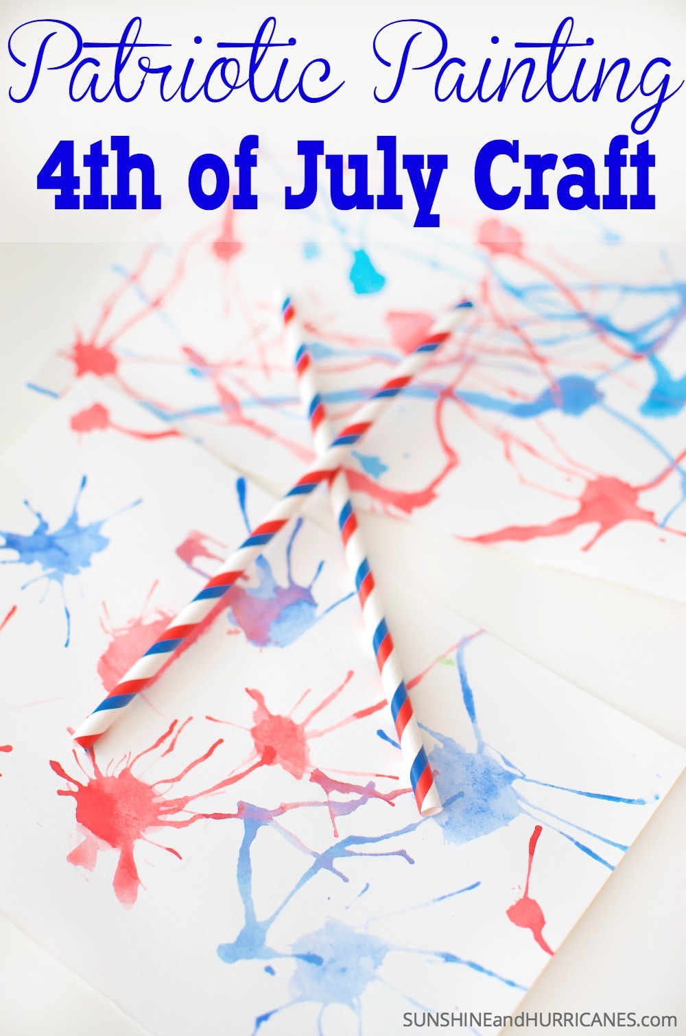 Here's a super simple 4th of July Craft to do with your kids that is fun and will get everyone in the holiday spirit. The final product is so pretty and would make great patriotic decor. 4th of July Craft - Patriotic Painting. SunshineandHurricanes.com