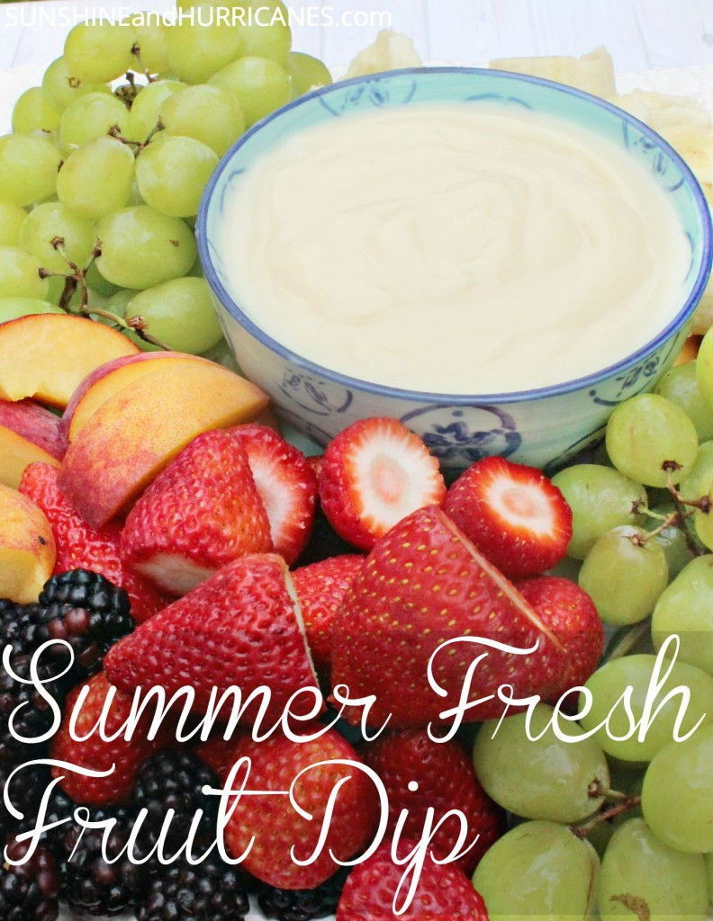 Need a simple idea for Summer entertaining? This easy Summer Fresh Fruit Dip is a crowd pleaser and everyone, from adults to kids, will love this healthy snack! Perfect for potlucks, a BBQ, or a pool party, this easy dip is a lovely side dish for any Summer picnic or activity!