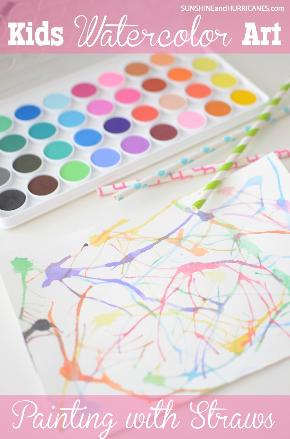Watercolor art is a great way to encourage creativity in kids. It's simple and not too messy and their finished masterpieces are always so pretty. Try this approach using everyday paper drinking straws to paint as something a little bit different.
