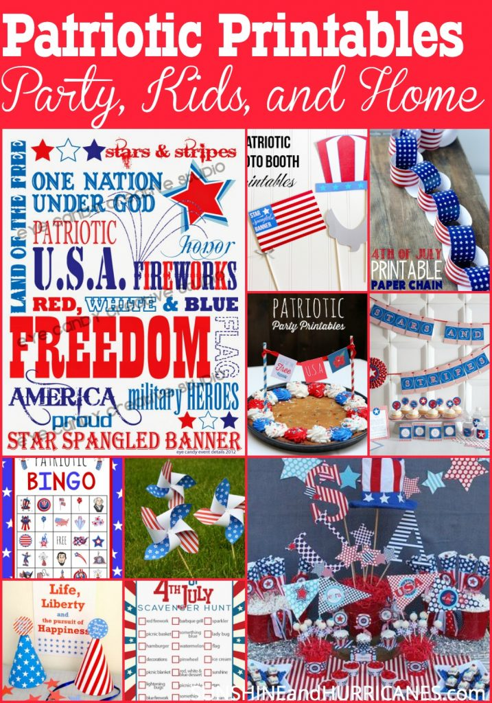 Everything you need to celebrate any Patriotic Event, these printables are FREE and will make your BBQ, party, or home festive and exciting! Whether you want to add a patriotic flair to your decor or quickly make your party something special, these printables are your answer! Activities for the kids and fun ideas for the 4th of July, Memorial Day and Labor Day included!