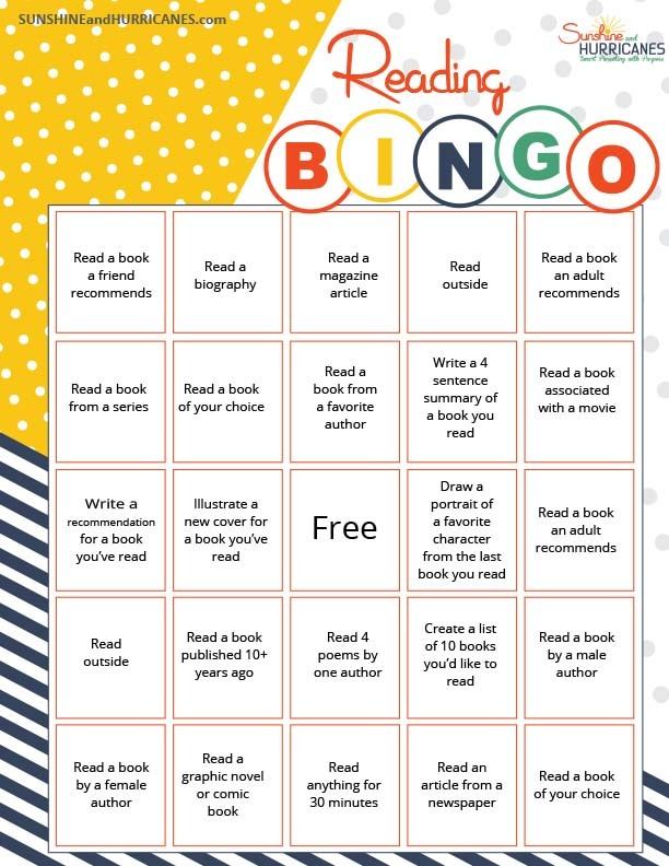 Motivate your tween or teen this summer to read more with this Summer Reading BINGO challenge. SunshineandHurricanes.com