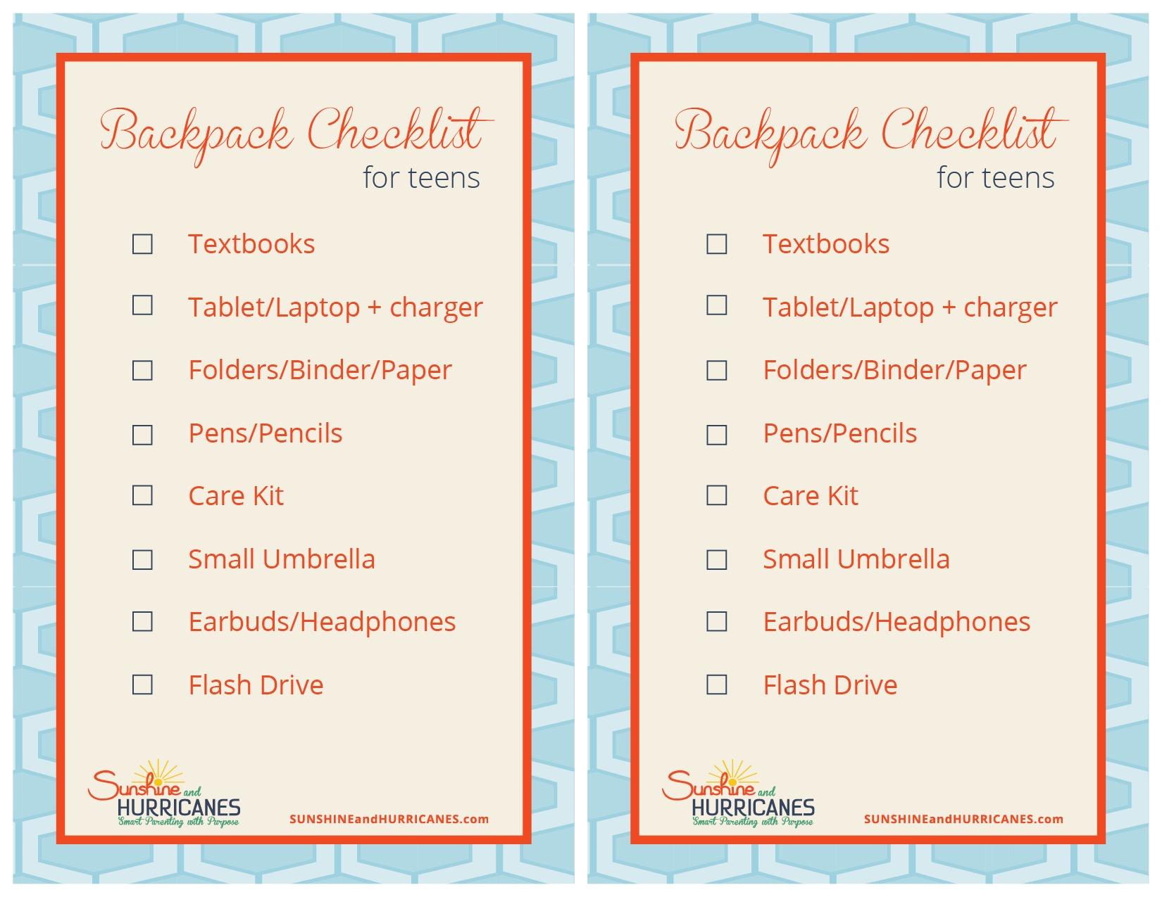 Teen Organization Backpack Checklist