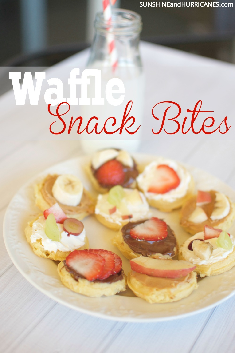Looking for a tasty and quick snack or breakfast for your hard to please kids? These waffle snack bites are the perfect snack solution. A little mix and max so kids can create their own makes it fun and yum all at once. SunshineandHurricanes.com