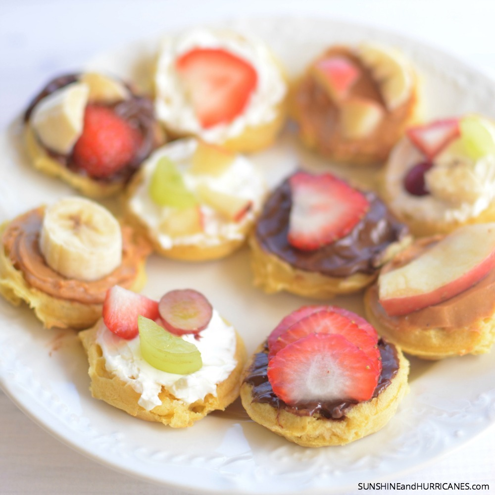 These waffle snack bites are the answer to picky eaters. Fun to make and each kid can create their own customized snack just to their liking. Waffle Snack Bites.