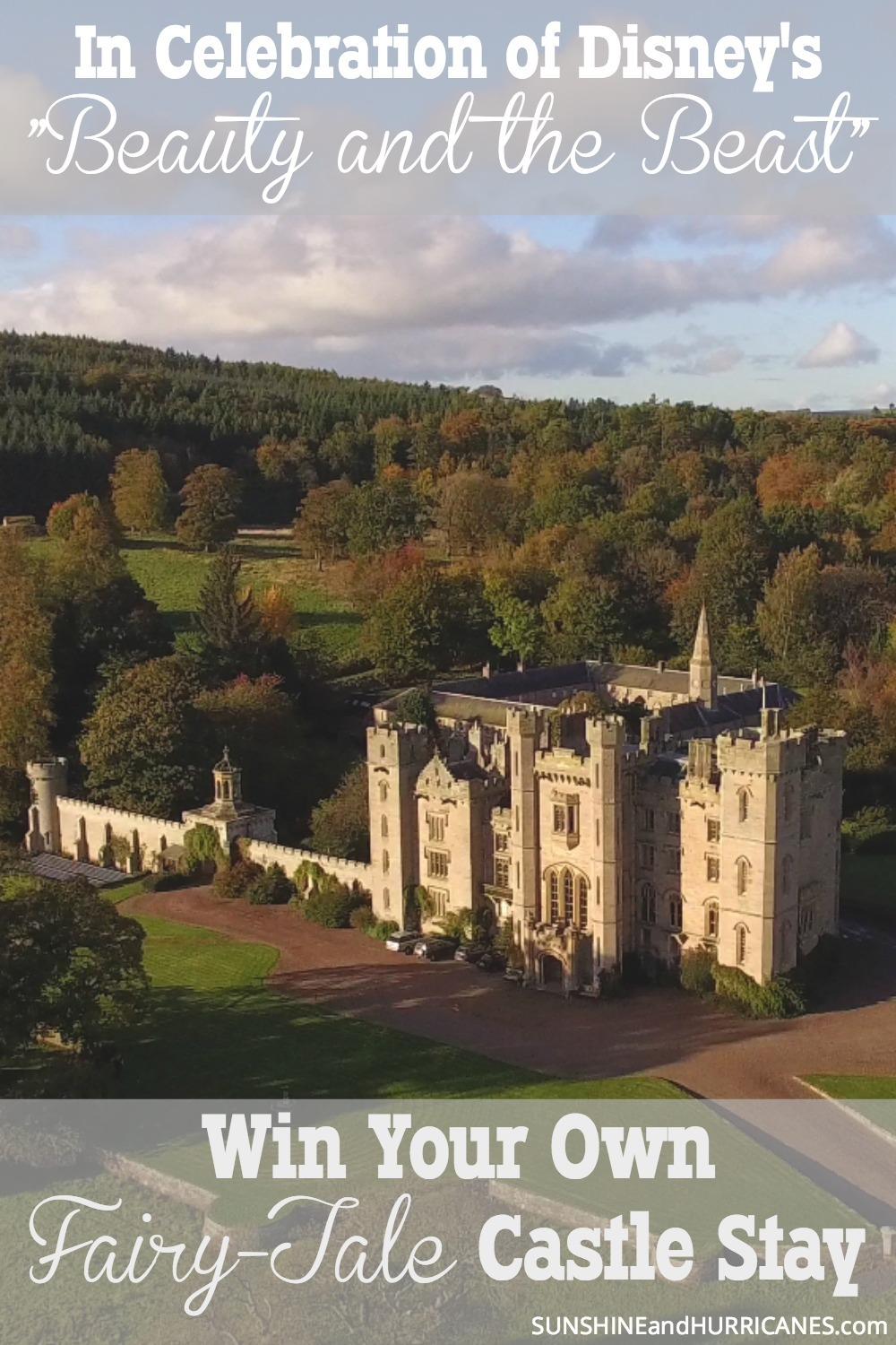 "Win your own fairy-tale like castle getaway from HomeAway in celebration of Disney's ""Beauty and the Beast"". It's your chance to feel like a princess and hold court with 20 guest for five nights in Duns, Scotland."