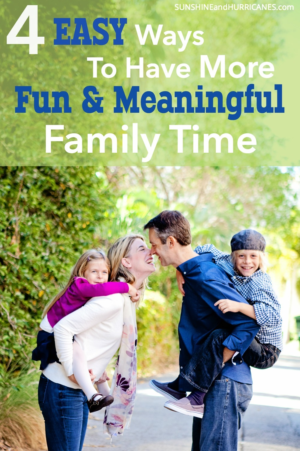 Are you looking for more ways you can connect with your kids? Try these 4 family time ideas that will help make everyday activities more meaningful and fun. SunshineandHurricanes.com