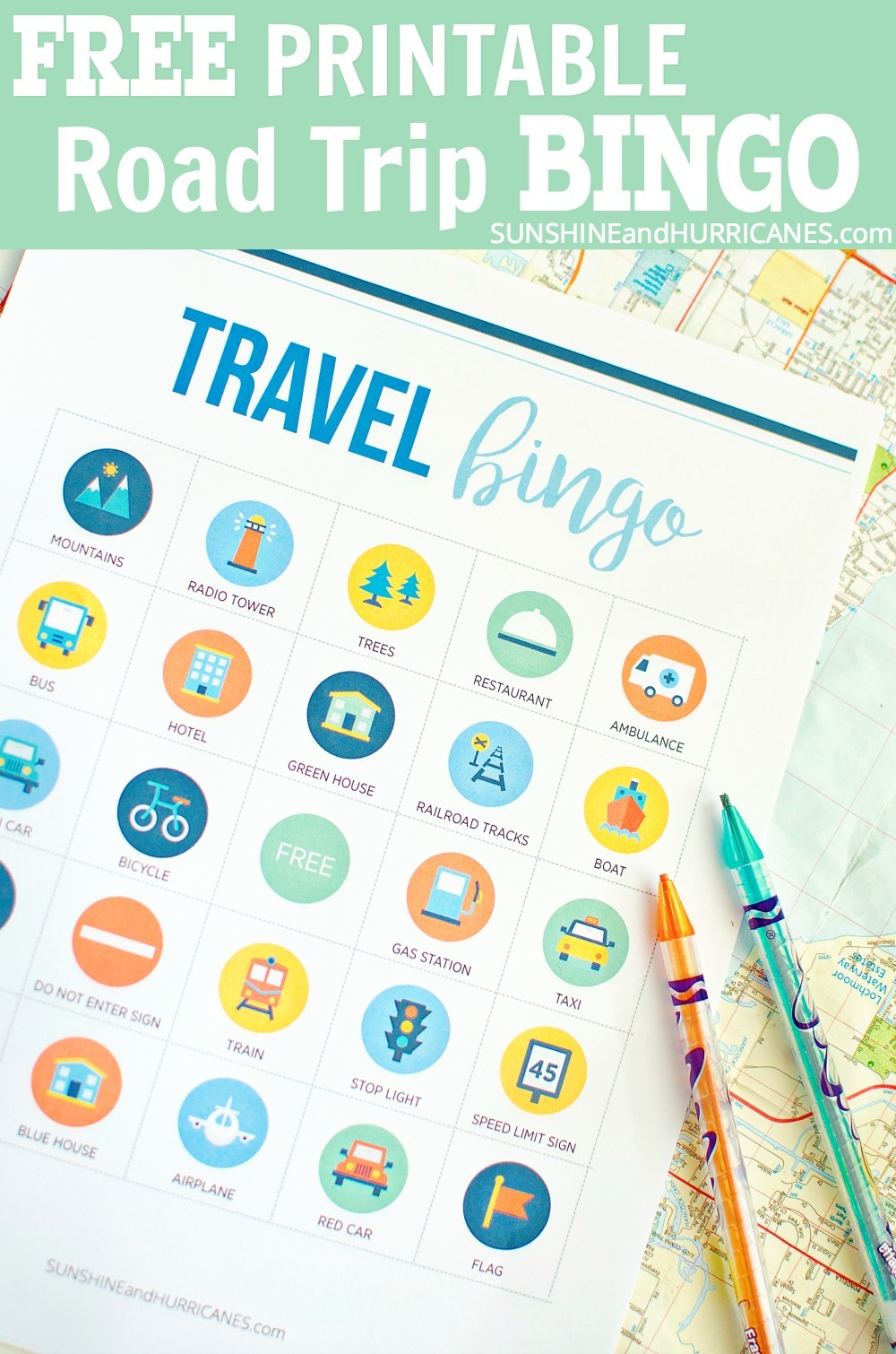 Looking for activities when you're traveling with the kids? This printable road trip bingo will keep them busy and your ride peaceful. Family Road Trip Printable BINGO.