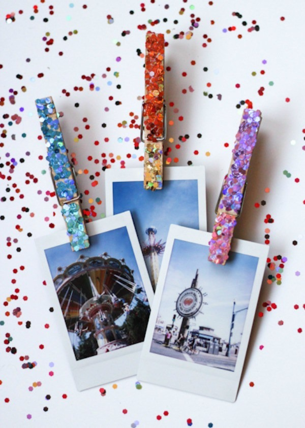 Have the sickest locker decor in school. These DIY Glitter Clothespins are great for hanging polaroid shots, tiny art, quotes and other personalization to your locker. Locker Decor Ideas for Teens