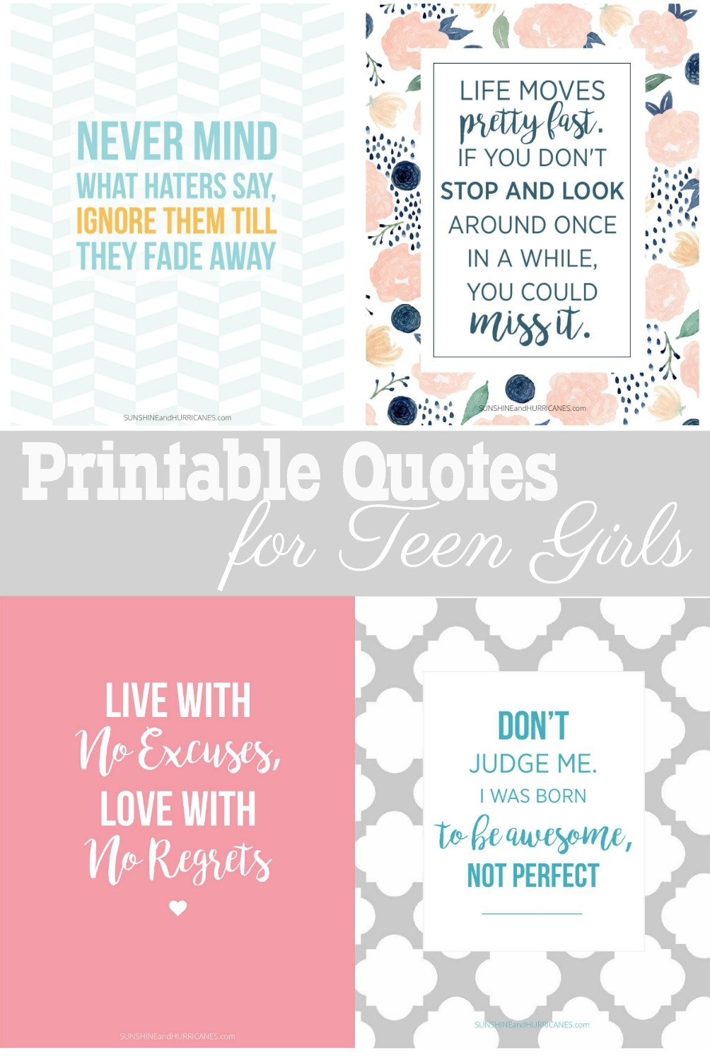 FREE Printable Quotes for Teen girls. Perfect for a teen girl bedroom, locker decor or even for dorm room decor.