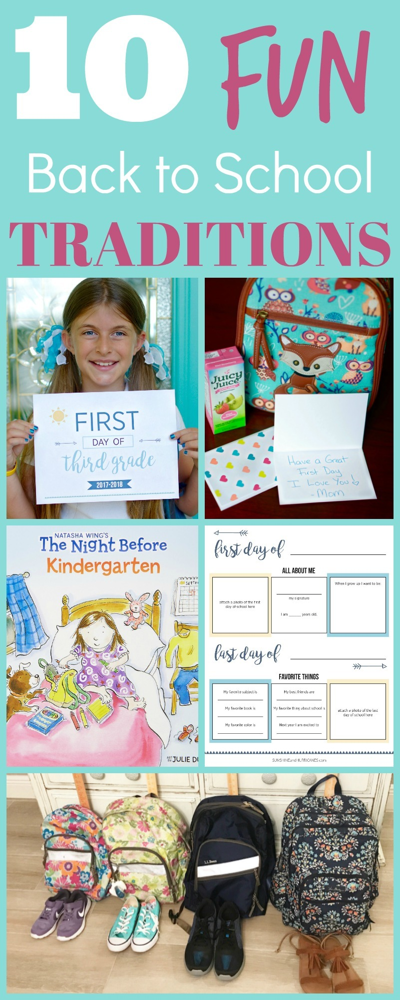 10 Fun and Meaningful Back to School Traditions for Your Family. Try one or try them all, it's a great way to start the first day of school off on the right foot. Back to School Traditions from SunshineandHurricanes.com